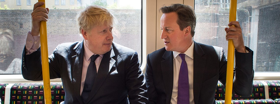 David Cameron (R) with Boris Johnson on the London Underground © Press Association Images