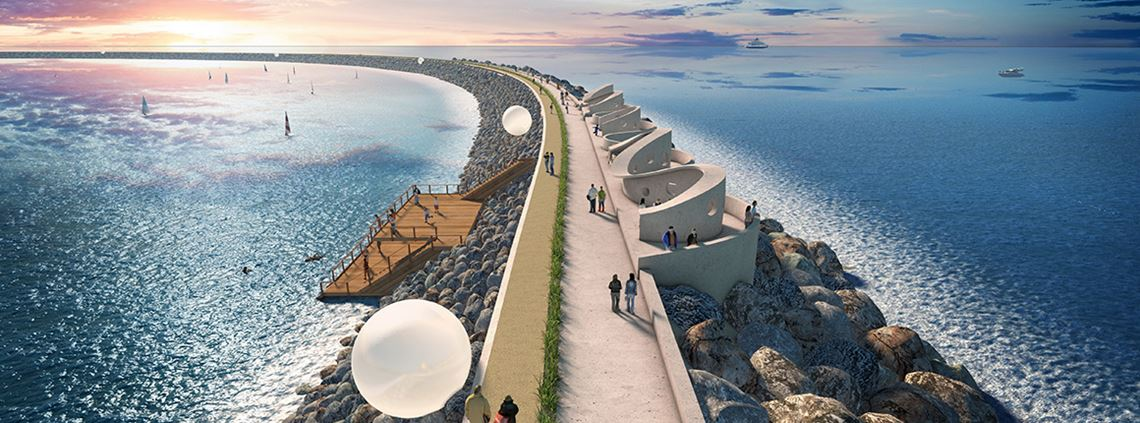 An artist's impression of a tidal lagoon. The UK has the potential to become a global leader in the technology ©Tidal Lagoon Power