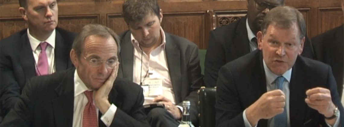 Cabinet office permanent secretary John Manzoni, right, and CSS chief executive Malcolm Harrison appeared in front of the Public Accounts Committee © www.parliamentlive.tv