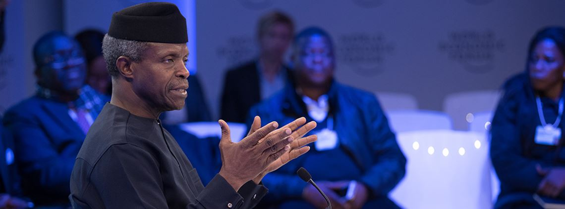 Vice president Yemi Osinabajo told the WEF conference 30% of Nigeria's budget was directed at capital plans ©World Economic Forum/Boris Baldinger
