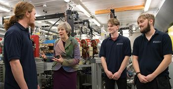 May launched her industrial strategy proposal in Cheshire today, where she also visited the Sci-Tech business campus © Stefan Rousseau/PA Images