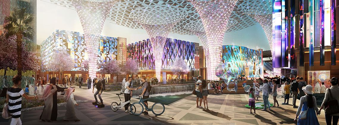 An artist's impression of the expo. The 47 contracts announced include construction of the three districts housing most exhibitions ©Moka-studio 2016