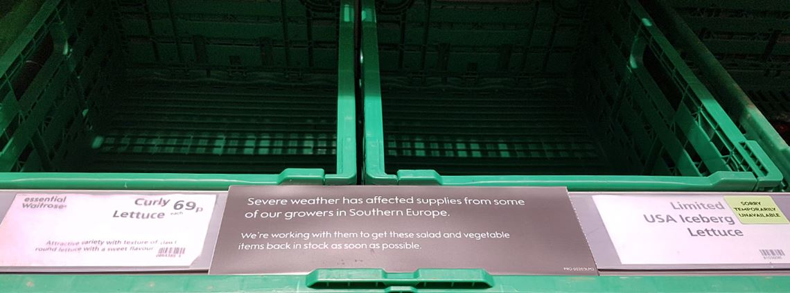 Bad weather has affected lettuce supplies leading to shortages