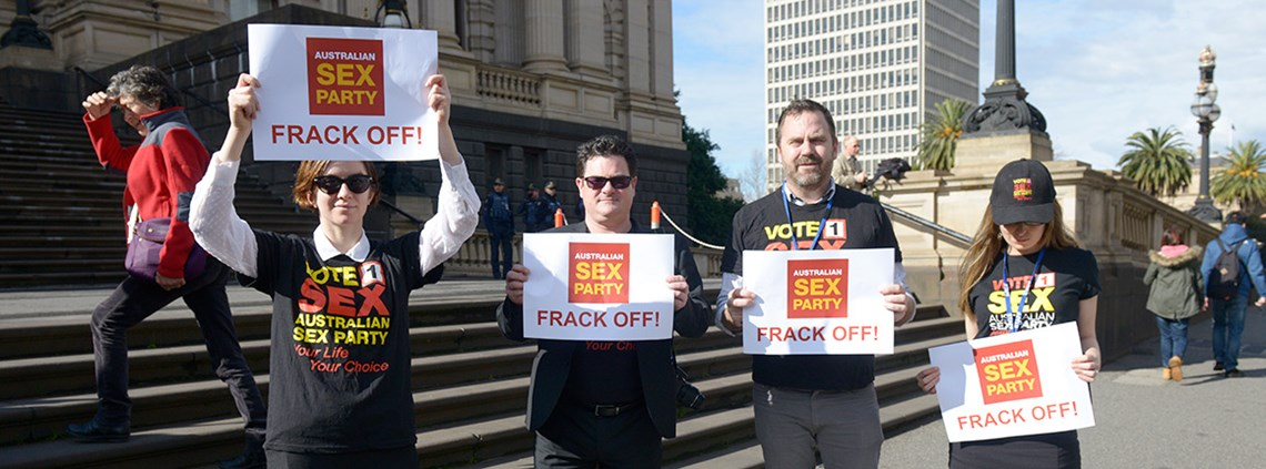Australia's Sex Party say they won't take fracking lying down © AAP/PA Images