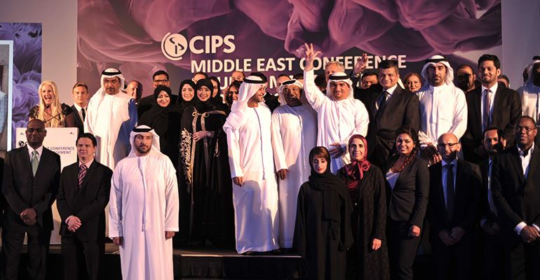 Winners on stage at last year's CIPS Middle East Awards