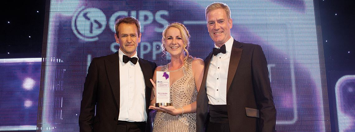 Part of the family: graduate Beattie (centre) went on to win Young Procurement Person of the Year © Carmen Valino