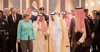 German chancellor Angela Merkel met with the King of Saudi Arabia to discuss trade deals © Kay Nietfeld/dpa/PA Images