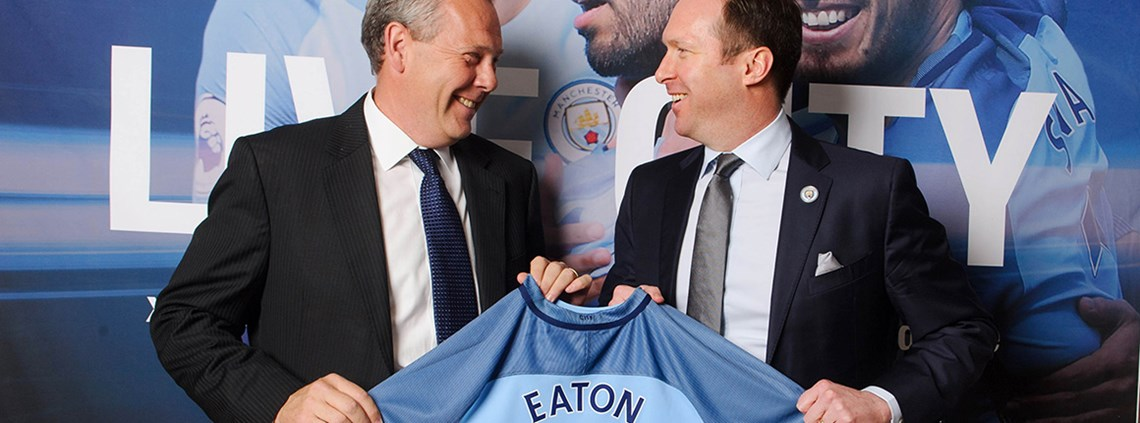 City Football Group's chief commercial officer Tom Glick (right) and Frank Campbell, Eaton's president of EMEA, launch the partnership © Eaton