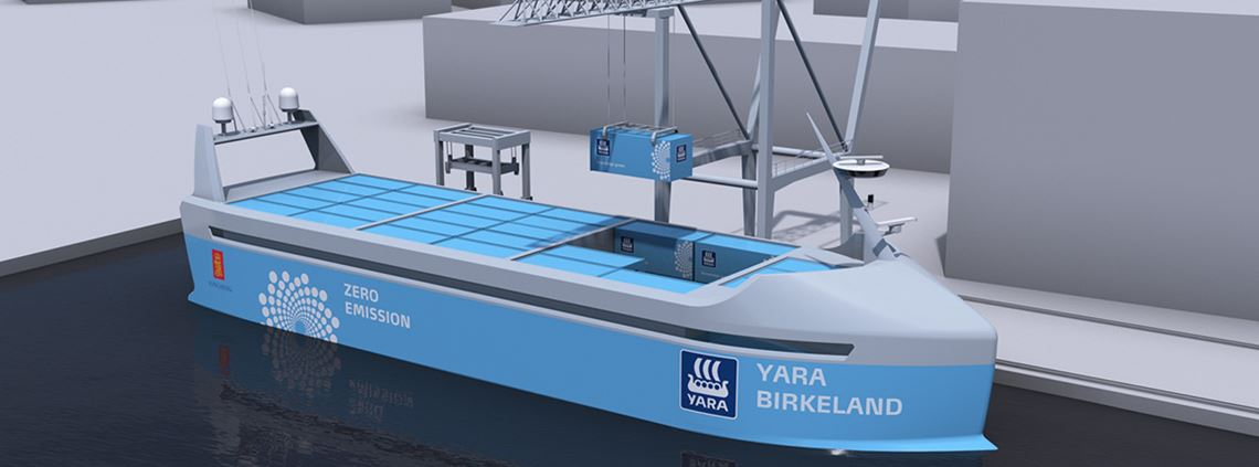 The Yara Birkeland will move to remote control in 2019 and full autonomy from 2020 © Yara