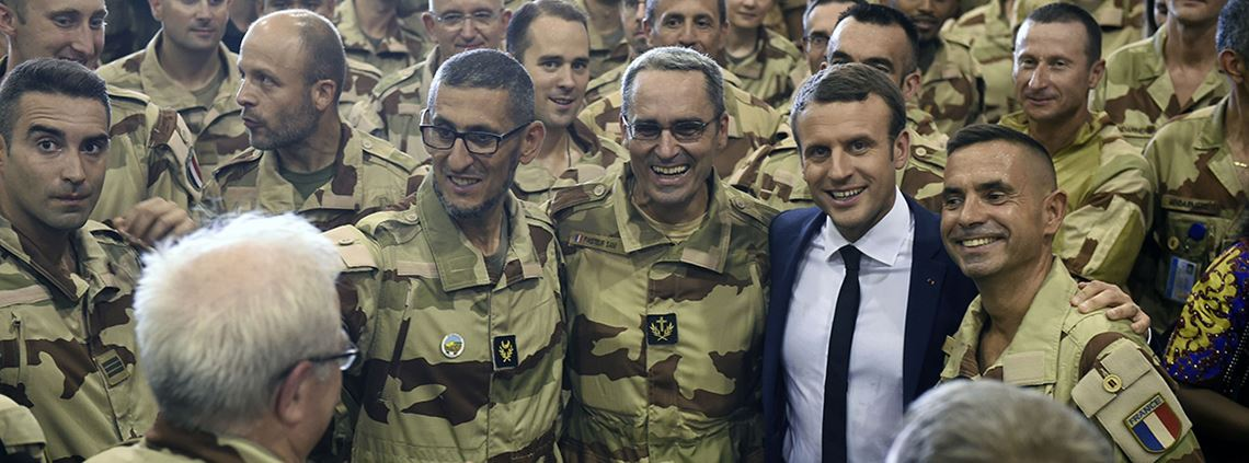 President Emmanuel Macron on a visit to French troops in Mali © ABACA/PA Images