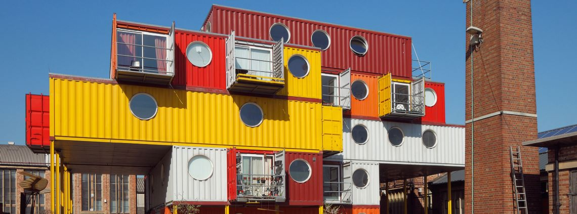 Shipping containers are increasingly 'upcycled' as buildings. © Alamy Stock Photo