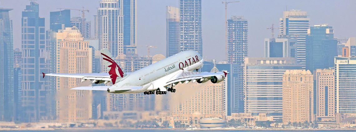 Qatar Airways has had to cancel all flights to Saudi, Bahrain, the UAE and Egypt ©Qatar Airways