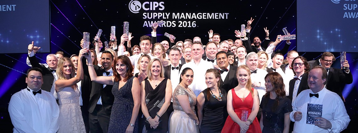 All the winners on stage at the 2016 CIPS Supply Management Awards
