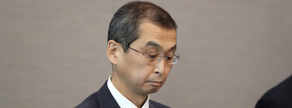 Takata president Shigeshisa Takda expressed remorse during a press conference © AFLO/PA Images