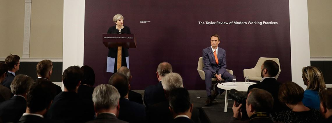 PM Theresa May with Matthew Taylor, chief executive of the Royal Society of Arts, at the review launch © PA Wire/PA Images