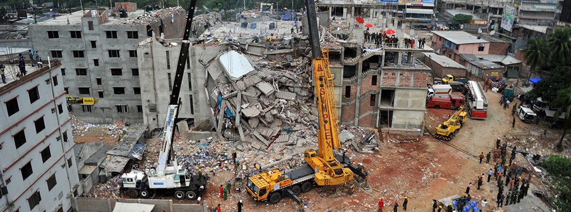 The Rana Plaza factory collapse 2013: the sector is now collaborating to reveal poor working conditions © ABACA/PA Images