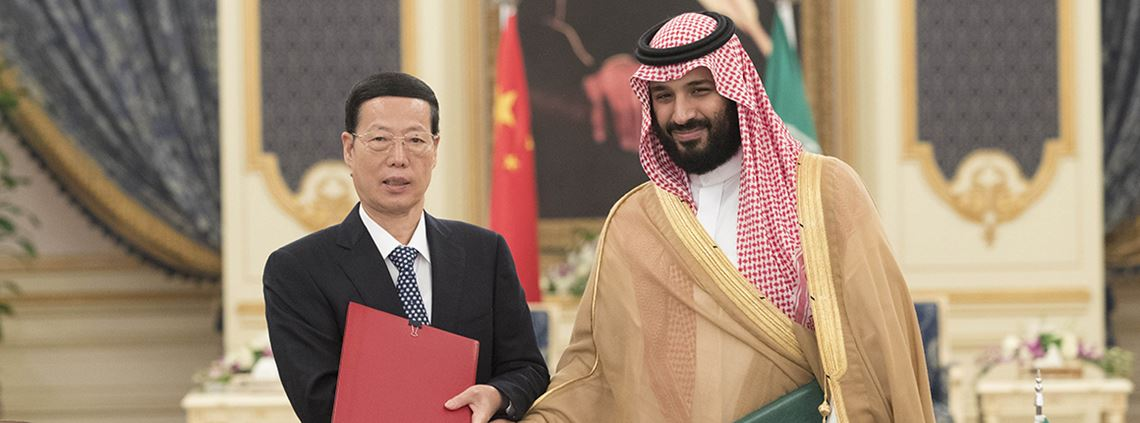 Chinese vice premier Zhang Gaoli, left, met with crown prince Mohammed bin Salman during an official visit to Saudi last week ©PA Images