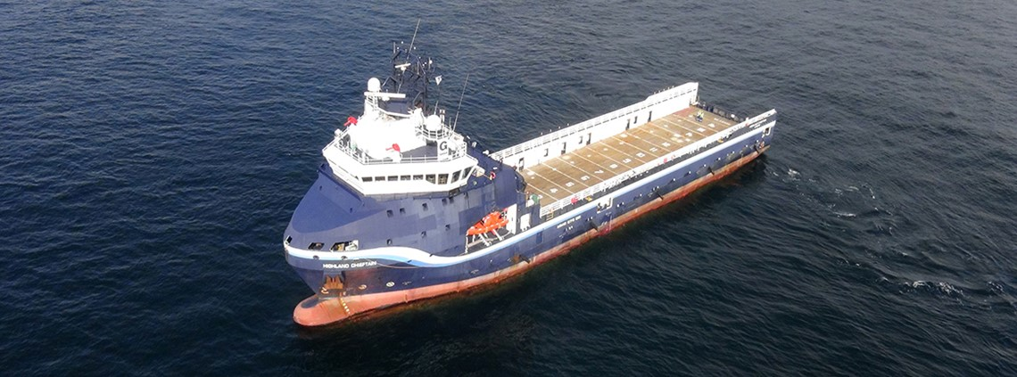 The Highland Chieftain, an 80m platform supply vessel, was retrofitted for the test