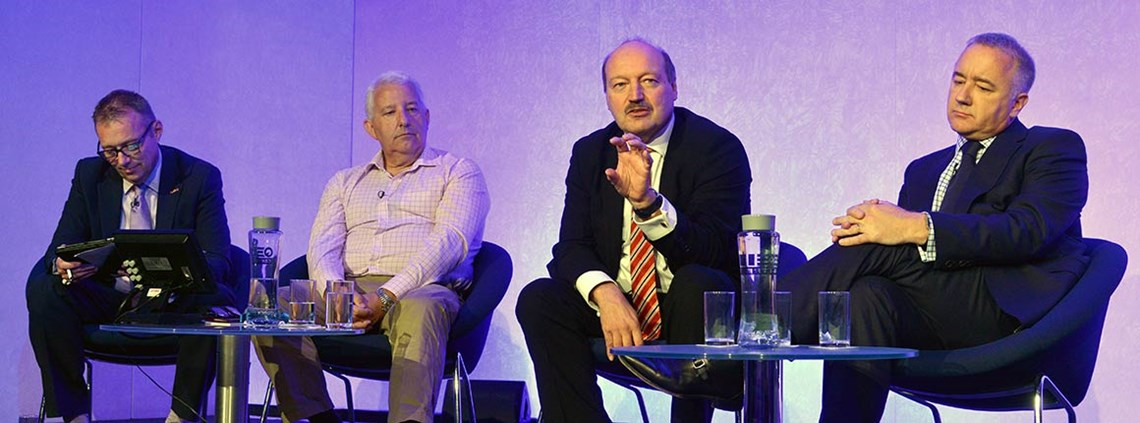 From left, moderator Oliver Cock, Philip Molnar, Alan Draper and Jim Townsend at the CIPS Annual Conference © Leo Wilkinson