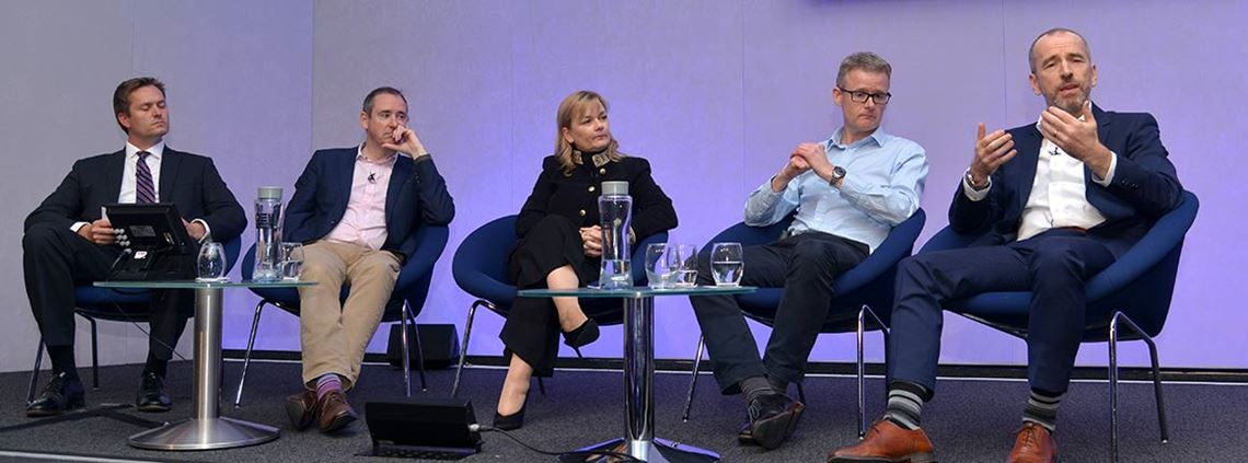 From left, moderator Rob Tuckwell, Paul Bestford, Margaret Gibson, Gareth Nugent and Chris Holmes of Novartis © Leo Wilkinson