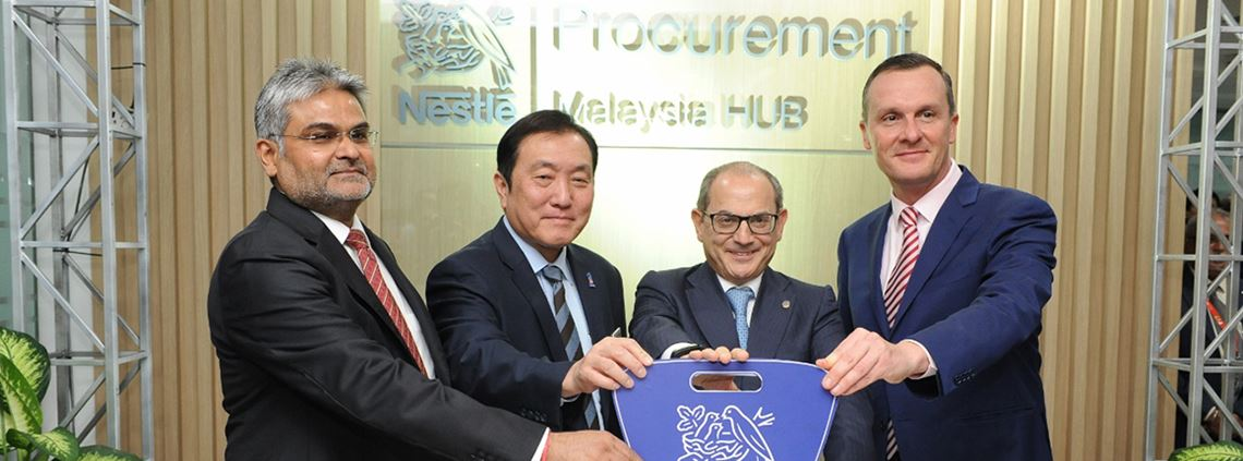 (L-R) Head of Nestrade Vashistha, second minister Ka Chuan, Nestle SA's Batato and Nestle Malaysia CEO Hofbauer launched the hub last week © Nestle