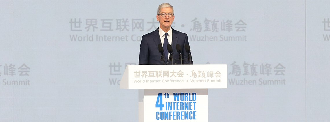 Apple CEO Tim Cook spoke at China's 2017 World Internet Conference © PA Images
