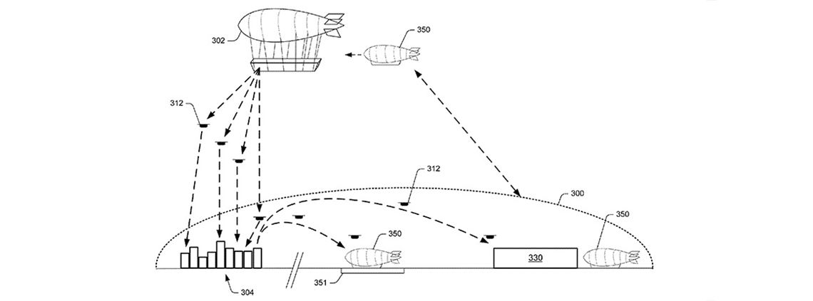 Amazon's airborne fulfilment centre would use use a fleet of drones to make deliveries © US Patent and Trademark Office