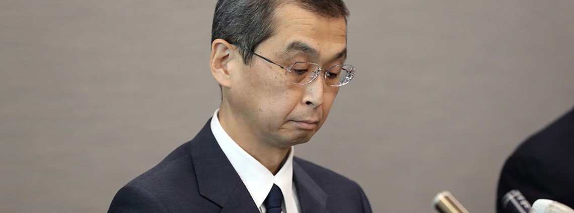 Takata president Shigehisa Takata announced the company's bankruptcy in Tokyo © AFLO/PA Images