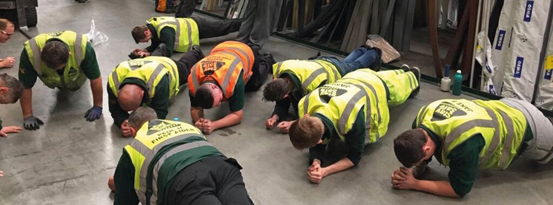 Staff recognise the benefits of improving their core strength ©Travis Perkins