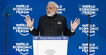 Prime minister Narendra Modi told the World Economic Summit his government was removing laws that stifled free enterprise ©World Economic Forum/Valeriano Di Domenico
