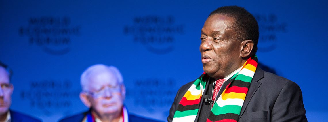 Emmerson Mnangagwa said he would prioritise economics and trade cooperation over politics ©World Economic Forum/Sikarin Thanachaiary