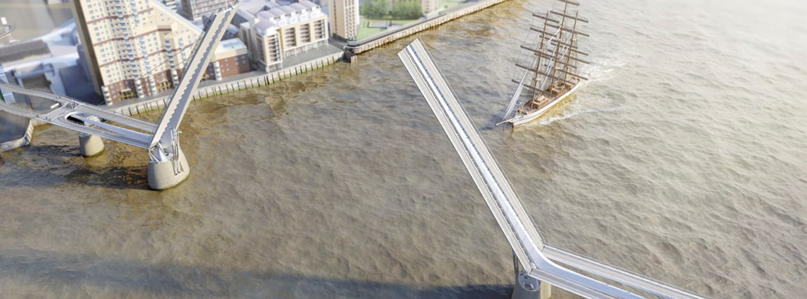 An impression of the joint venture's bascule bridge design © reForm architects & Elliott Wood engineers