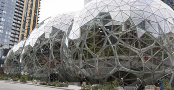 Amazon recently opened a set of plant filled spheres at its Seattle HQ © PA Images