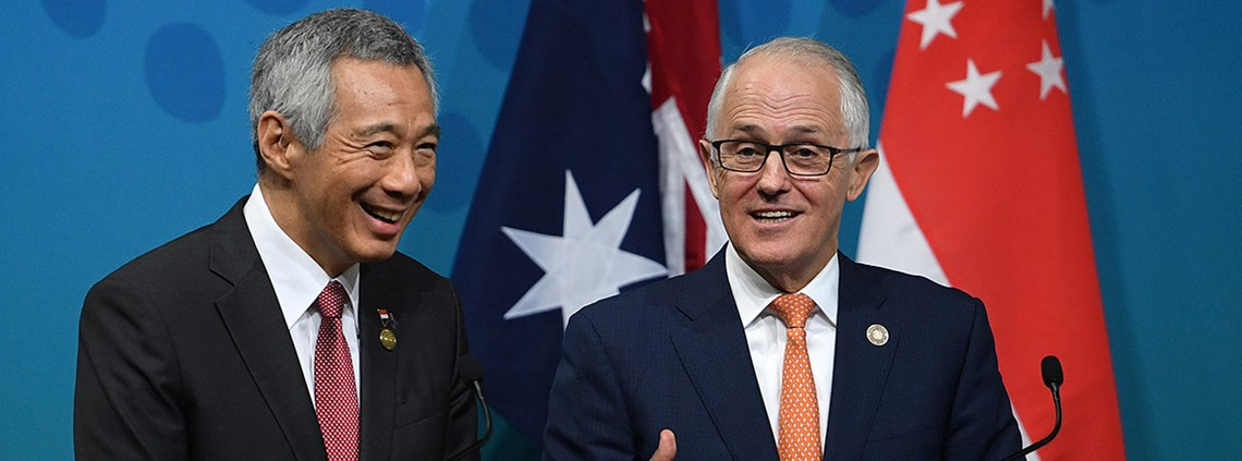 Singapore and Australia PMs Lee and Turnbull are committed to open markets and free trade © PA Images