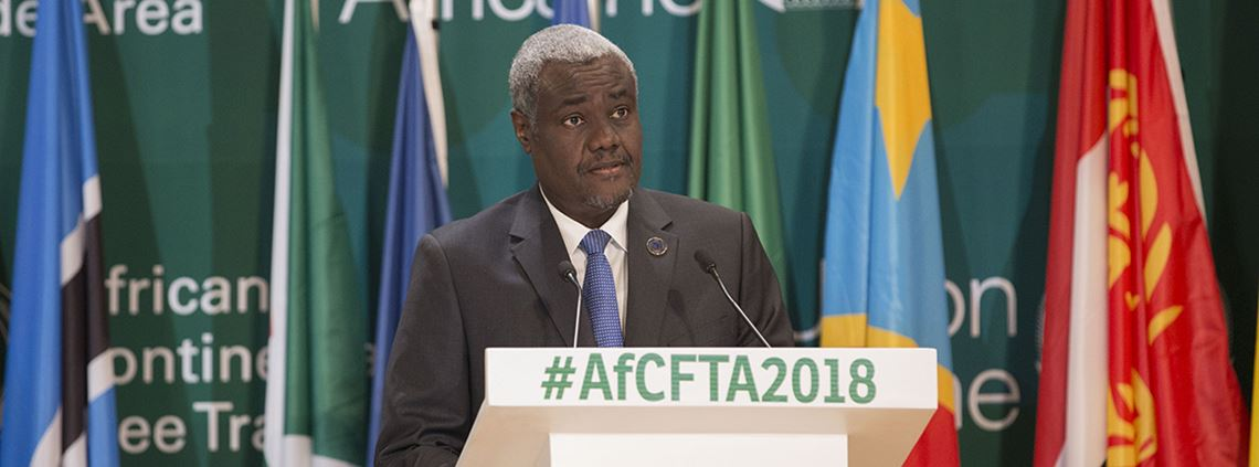 Chair of the AU Commission Moussa Faki Mahamat said Africa needed to unite or perish ©Xinhua News Agency/PA Images