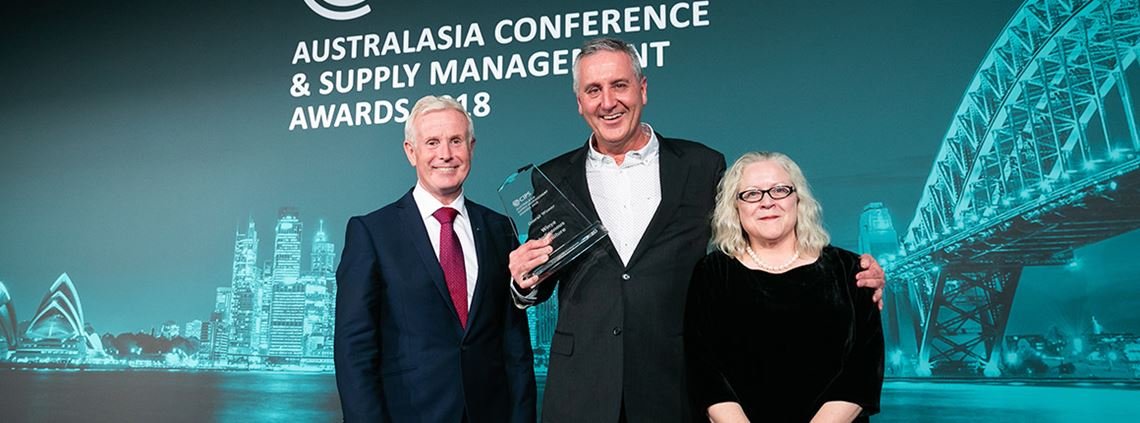 Winya director Greg Welsh, centre, accepts the award for overall winner from CIPS' Gerry Walsh and Cath Hill