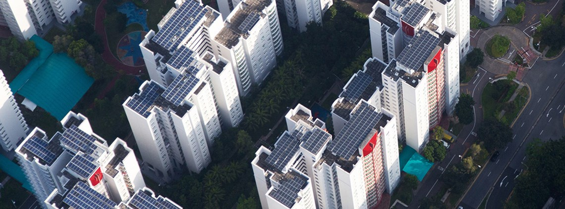 Rooftop solar panels in Singapore are part of the clean energy generation owned or financed by Apple