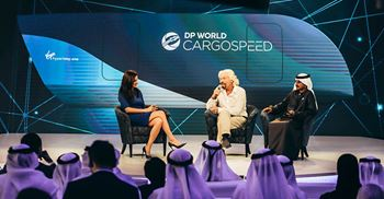 Virgin founder Richard Branson and DP World chairman Ahmed bin Sulayem both attended the launch of DP World Cargospeed ©DP World/Virgin Hyperloop One
