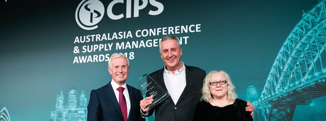Winya's Greg Welsh (with CIPS' Gerry Walsh and Cath Hill) picks up the company's Overall Winner trophy at the ceremony in July this year ©Trickmedia Photography