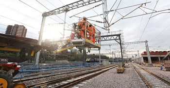 Construction workers on the Crossrail line in March. ©Credit: Crossrail Ltd