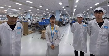 Still from Google's video tour of electronics supplier Flex's China factory © Google