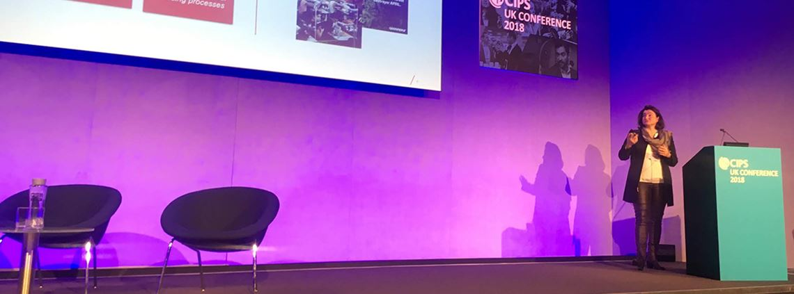 Beatrix Praeceptor, CPO at Mondi, speaking at the CIPS UK Conference