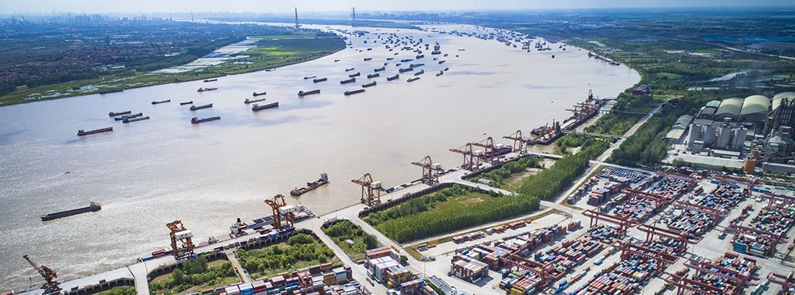 Wuhan's Yangluo Port has become the largest port along the upper and middle Yangtze River © Xinhua News Agency/PA Images