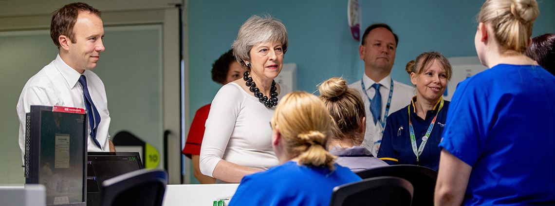 Health secretary Matt Hancock and prime minister Theresa May launched the NHS Long Term Plan at Alder Hey Children's Hospital in Liverpool © PA Images