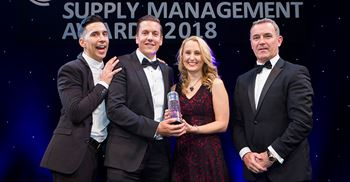 Northumbrian Water's John Murray and Laura McMain (centre) pictured with comedian Russell Kane and Patrick Dunne of Sainsbury's at the CIPS SM Awards 2018