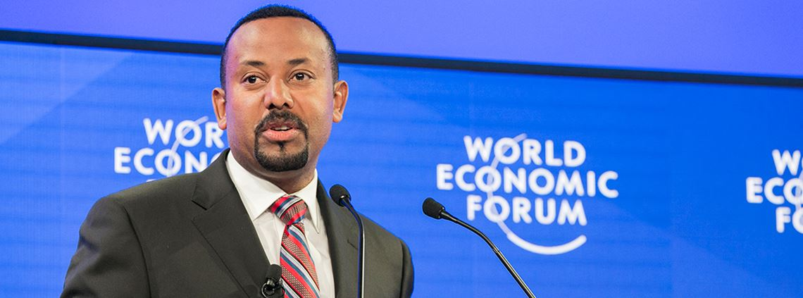 The proportion of people in poverty in Ethiopia dropped to 23% in 2015, said Ahmed © World Economic Forum / Benedikt von Loebell