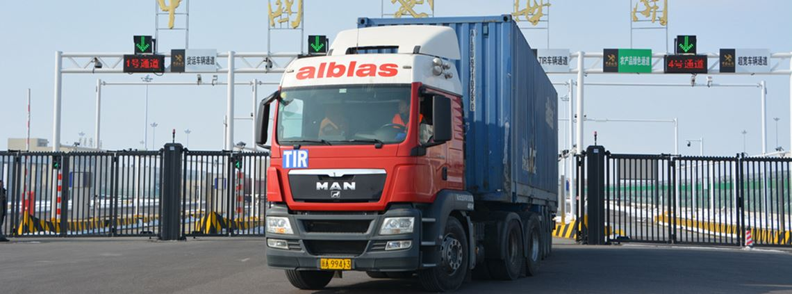 The truck travelled 7,400km from Germany to Khorgos, a major Chinese port © IRU