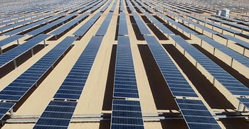 The three photovoltaic plants, covering 2.88 square kilometres, will produce 1.8GW of clean energy © Acciona Energy