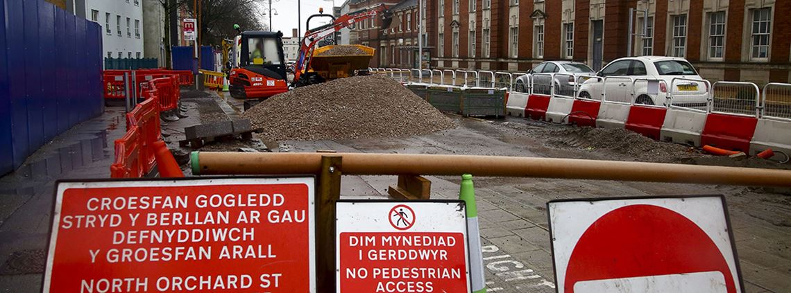 Subcontractors employed by Dawnus are reported to have downed tools on work to Kingsway in Swansea © G. Caddick/AFP/Getty Images