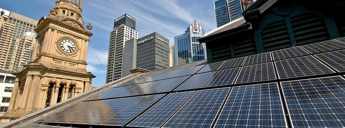 The City of Sydney Council has installed solar panels on 30 of its buildings including Sydney Town Hall © City of Sydney
